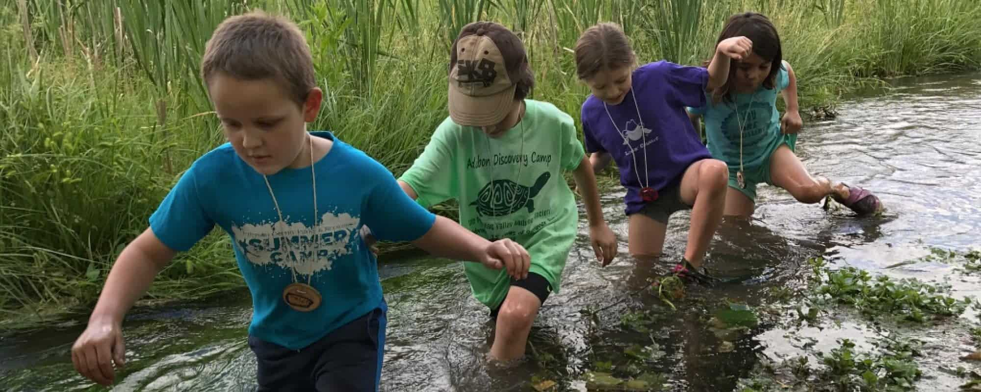Camp kids wading in creek